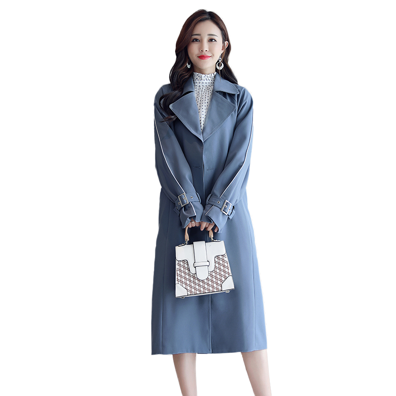 New spring dress chic   trench   coat in ms long leisure relaxed autumn long knee-length coat is blue