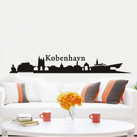 Danmark Kobenhavn City Buildings Wall Sticker Beauty City Scenery Silhouette Wall Decal Modern Art Design Home Decoration