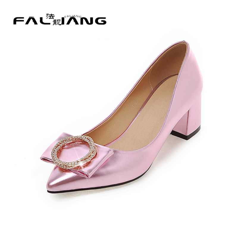 ФОТО Big Size 11 12 Elegant Crystal Casual Pointed Toe Square heel Women's Shoes High Heels Pumps Woman For Women