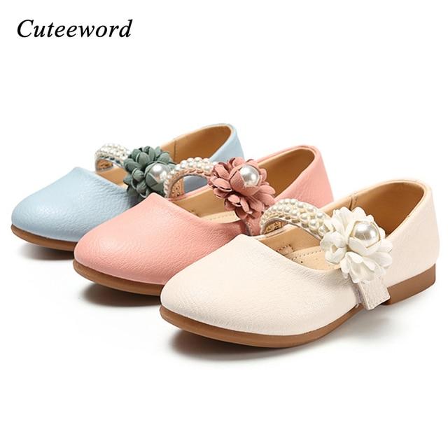 Wedding Flower Girl Shoes Children Party Princess Girls Light Soft Bottom Leather Kids Pink Peas