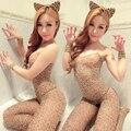 Las mujeres de Señora Sexy Leopard Medias Siameses Discoteca Muy Abierta Entrepierna Tiara