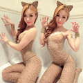 Women Lady Sexy Leopard Stockings Siamese Nightclub Extremely Open Crotch Tiara