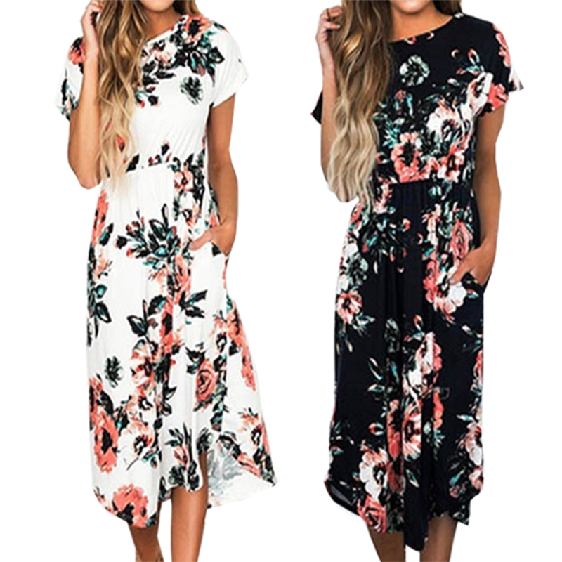 Bohemian Flowers Floral Print Dress 2018 Short Sleeve Women Summer Mid-Calf Dresses Loose Casual Party Dress Plus Size GV785