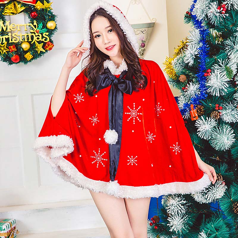 Velvet Red Snowflake Hooded Christmas Cloak Costumes For Girls and Woman Christmas Cape Party Cosplay