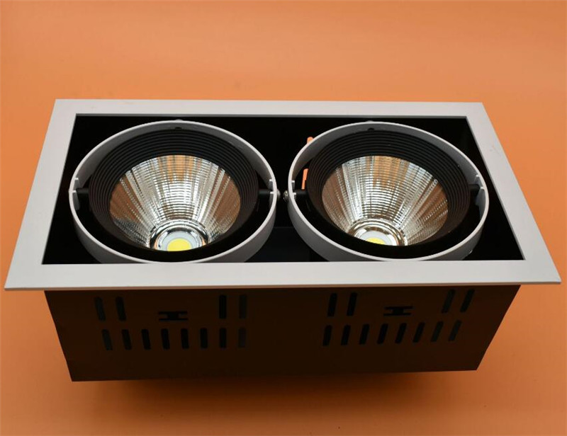 4pcs DHL Ship High quality adjustment LED COB dimmable Downlights AC85 265V 30W LED Ceiling Lamp Spot Ligh COB Led Grille light