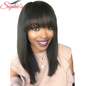 Image 1 - Sophies Straight Wigs Remy Brazilian Human Hair For Women 100% Human Hair Machine Made No Smell 10 Inch,1B ,#4,99J