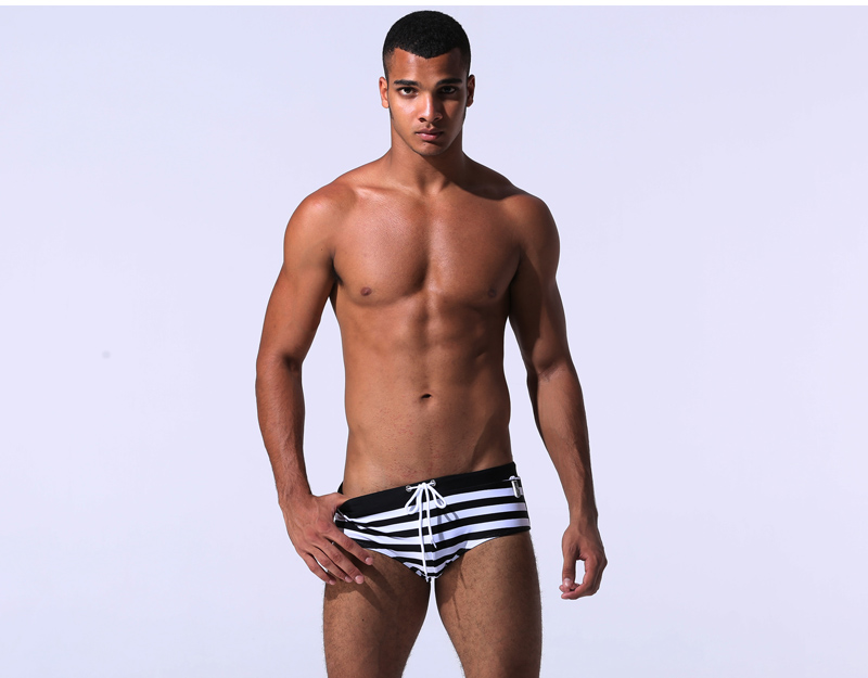 Topdudes.com - Men's New Solid Swimming Trunks Beachwear Low Rise Bikini Swimwear