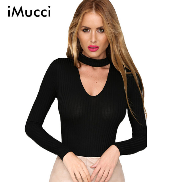 Autumn New Long Sleeve Sexy Women Rompers Short Fashion Deep V-Neck Halter Skinny Bodysuits Women Romper Cotton Casual boysuit