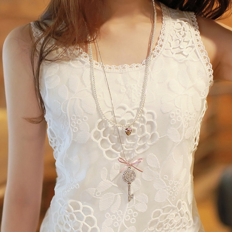 Plus Size 4XL White   Tank     Top   Women Elegant Flower Embroidery Lace   Tanks   Blouse Summer Tube   Top   Sleeveless Shirt Clothing