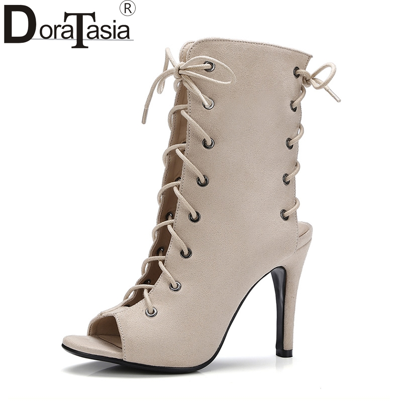 DoraTasia  Plus Size 34-43 Brand Shoes Woman Sexy Peep Toe Thin High Heels Gladiator Sandals Women Shoes Lace Up 2016 new fashion sexy shoes fretwork lace up spike high heels large size shoes woman sandals sapatos gladiator shoe melissa