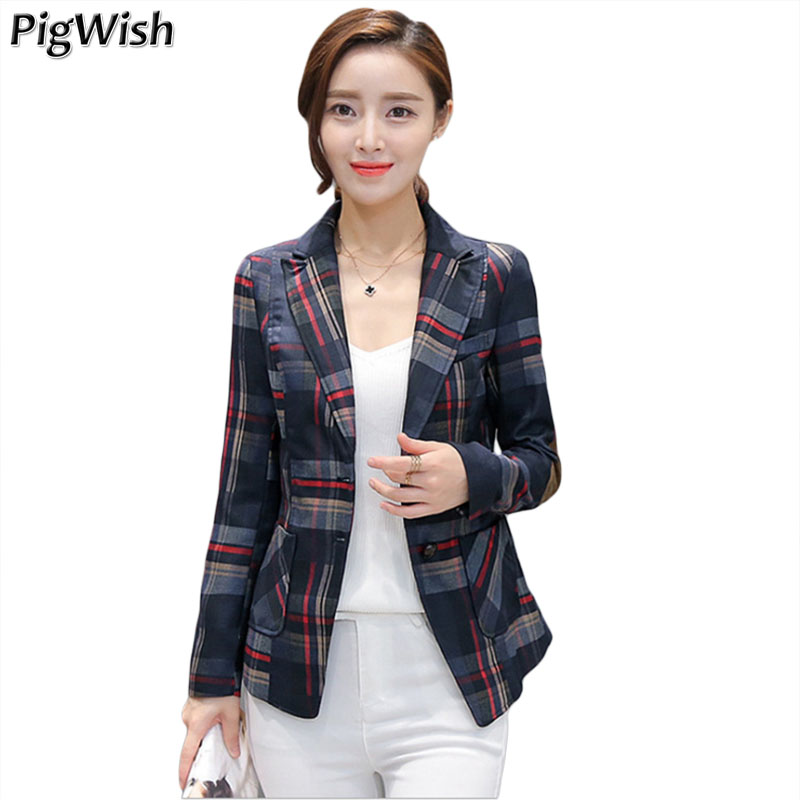 2018 Spring Blazer Feminino Print Plaid Women Suit Long Sleeve Outerwear Slim Ladies Office Jacket Coat Plus Size 3XL