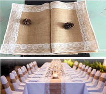 wholesale Burlap Lace Table Runner Chair ribbon Jute Country rustic Wedding Party Decor home banquet table decoration(China)