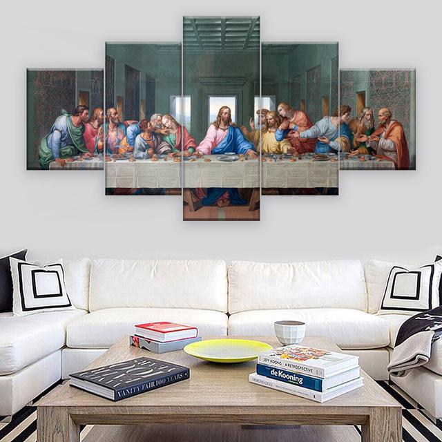 5 paneles famoso HD imprimir lienzo pintura La Última Cena Leonardo da Vinci Wall imágenes para sala cocina unframed