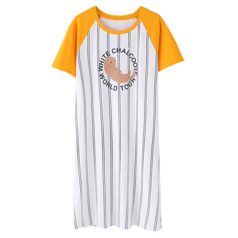 vertical stripes   nightgowns   &   sleepshirts   for young girls even sleeves dress female cartoon splice home wear M-XXL