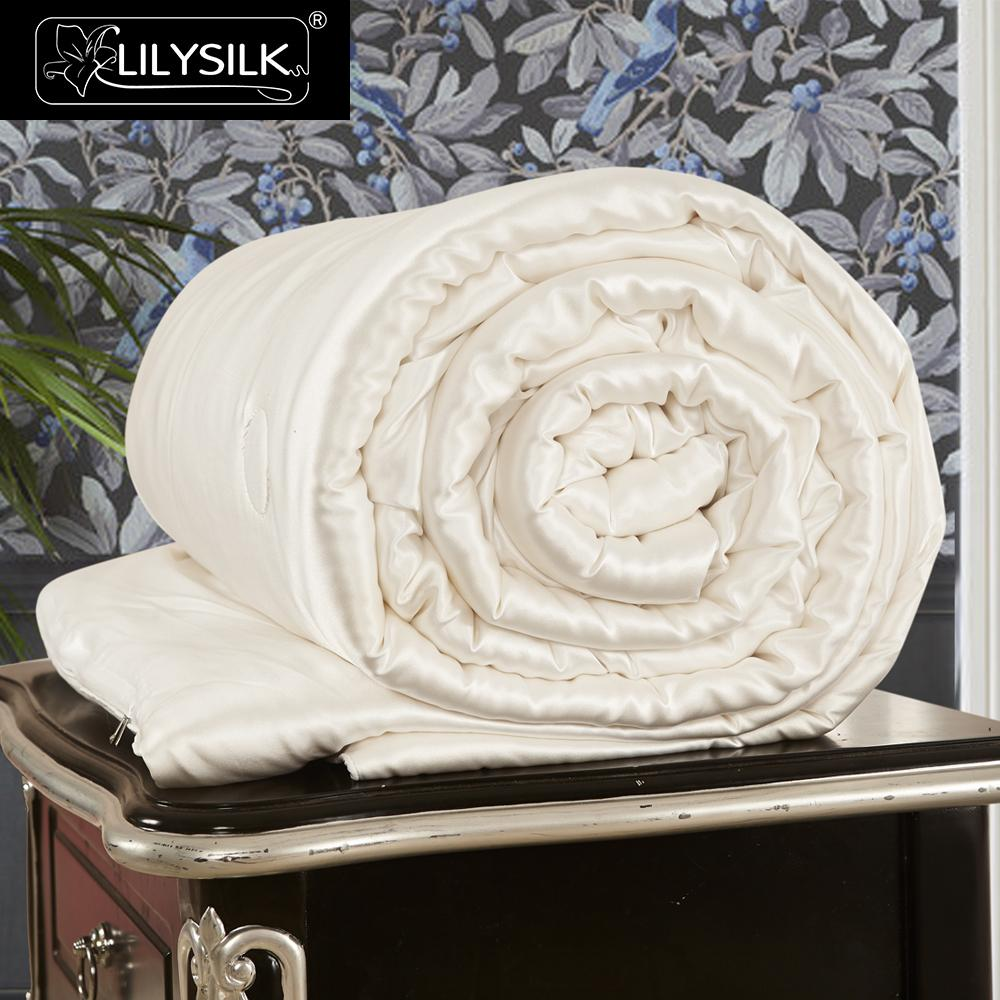 LilySilk Comforter Duvet All Season Silk Covered 100 Silk pure and natural long strand floss queen
