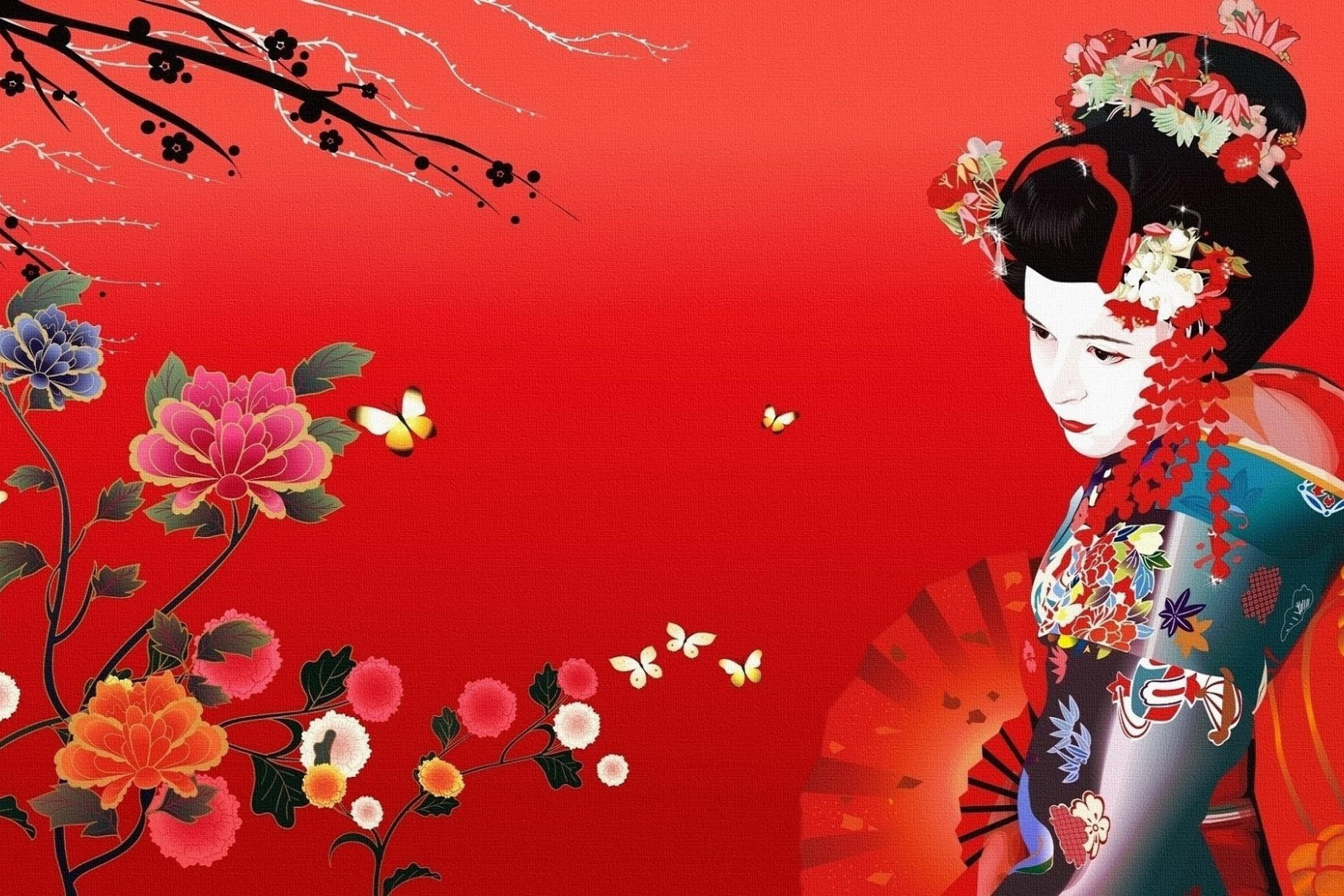 home decoration art oriental girl flowers fan silk fabric poster