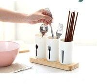 1PC Chopsticks Tube Tableware Storage Rack Drain Rack Shovel Spoon Bucket Knife Fork Box With Wood