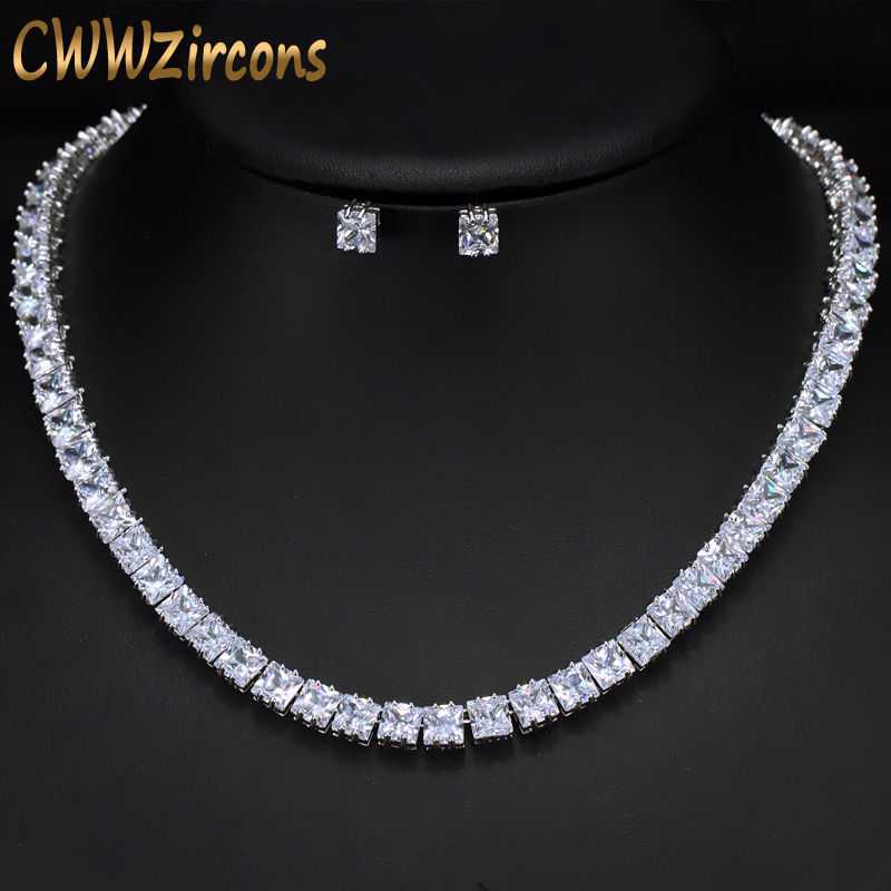 CWWZircons Sparkling Square Cubic Zirconia Crystal Silver Color Fashion Tennis Choker Necklace Set for Women Accessories T031CWWZircons Sparkling Square Cubic Zirconia Crystal Silver Color Fashion Tennis Choker Necklace Set for Women Accessories T031