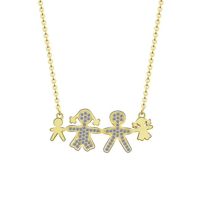Family jewelry cubic zirconia boy girl pendant necklaces gold silver family jewelry cubic zirconia boy girl pendant necklaces gold silver color stainless steel chain statement necklace aloadofball Images