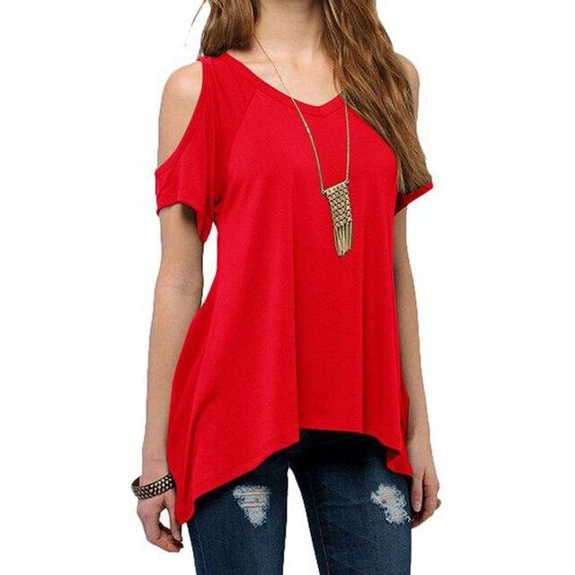 a90f9395ce514 Women Open Cold-Shoulder T Shirts Irregular Hem Cut Out Tunic Top Woman Off Shoulder  T-shirt Top Tees Cold Shoulder Top LJ1270C