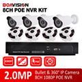 8CH 1080 P POE NVR Kit POE NVR Com 8 PCS 1080 P Fisheye Dome & Bala 2.0MP Câmera IP POE Sistema NVR Sistema de CCTV, 360 Graus vista