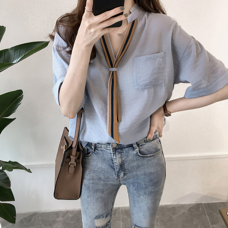 Shirts Women Elegant Summer Trendy Korean Style All-match High Quality Soft Thin Solid Ulzzang Work Wear Womens Blouses Casual
