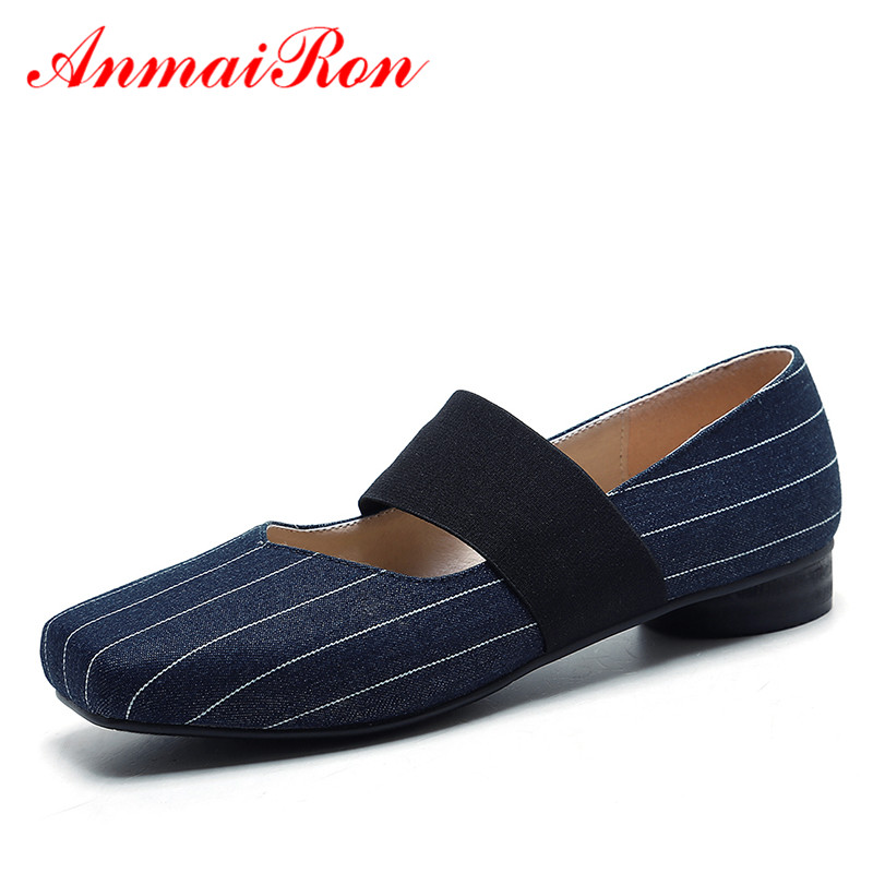 ФОТО ANMAIRON Slip-on Flats Shoes for Women Cotton Fabric Square Toe Shoes Woman Gingham Ballet Fats Shoes Ladies Mary Janes Shoes