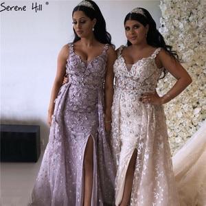 Image 2 - 2020 핑크 민소매 수제 꽃 이브닝 드레스 크리스탈 섹시 럭셔리 Tulle 이브닝 가운 실제 사진 LA60717