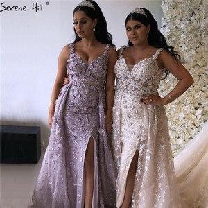 Image 2 - 2020 różowy bez rękawów ręcznie robione kwiaty suknie wieczorowe kryształ Sexy luksusowe Tulle suknie wieczorowe Real Photo LA60717