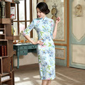 New Autumn Winter Cheongsam Chinese Traditional Dress Linen Half Sleeve Female Stand Neck Qipao Print Chinese Dresses