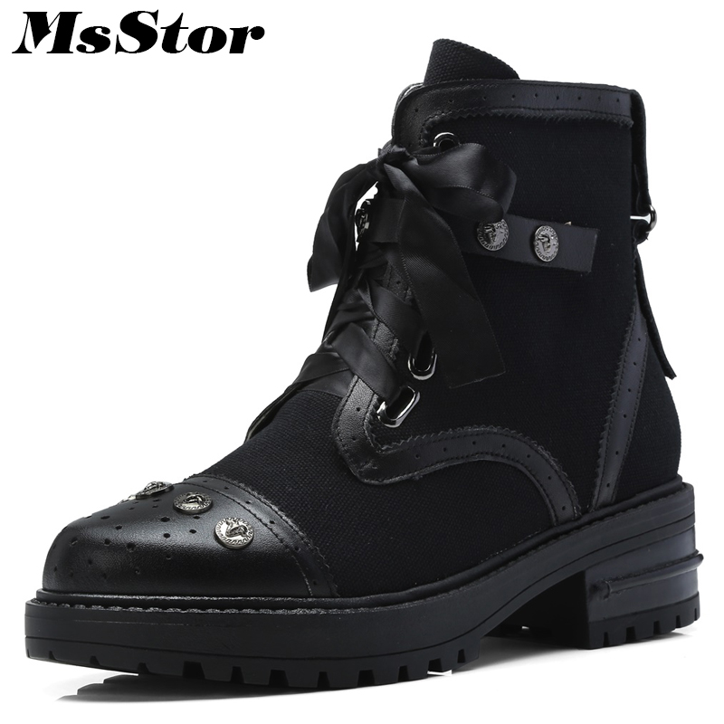 MsStor Round Toe Med Heel Boots Shoes Woman Fashion Metal Zipper Rivet Ankle Boots Women Shoes Butterfly-knot Black Women Boots chic round lens hipsters street snap fashion black butterfly sunglasses for women