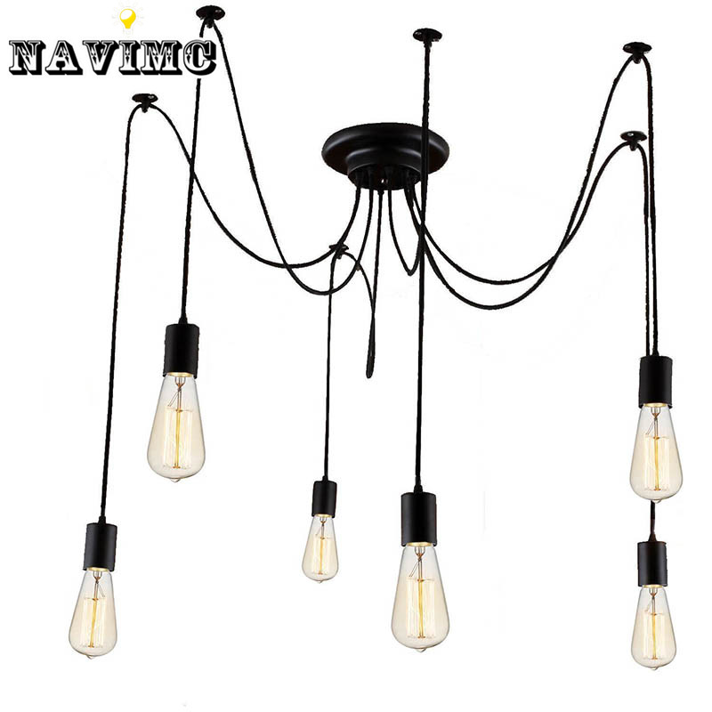 Modern Nordic Retro Edison Bulb Light Chandelier Vintage Loft Antique Adjustable DIY E27 Art Spider Pendant Lamp Home Lighting vintage clothing store personalized art chandelier chandelier edison the heavenly maids scatter blossoms tiny cages