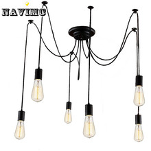 Modern Nordic Retro Edison Bulb Light Chandelier Vintage Loft Antique Adjustable DIY E27 Art Spider Pendant Lamp Home Lighting