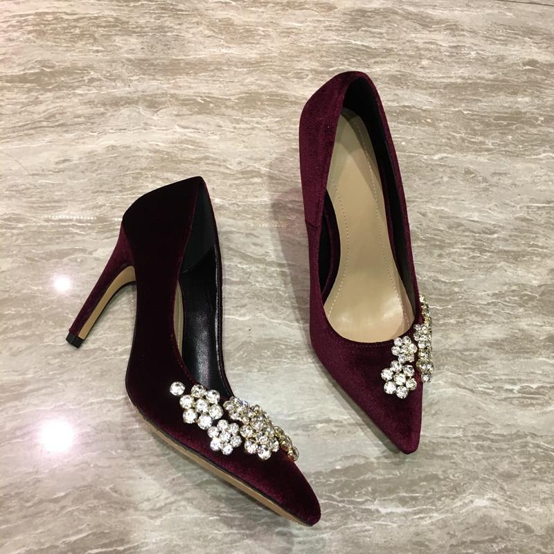De Red Kardashian Qianruiti Pompes 9cm Vin wine Bout Bling Haute Pointu Mariée black Chaussures Femmes Velours wine Kim Clouté Style Cristal Talons Rouge 7cm 7cm Black 9cm qOvTgrq