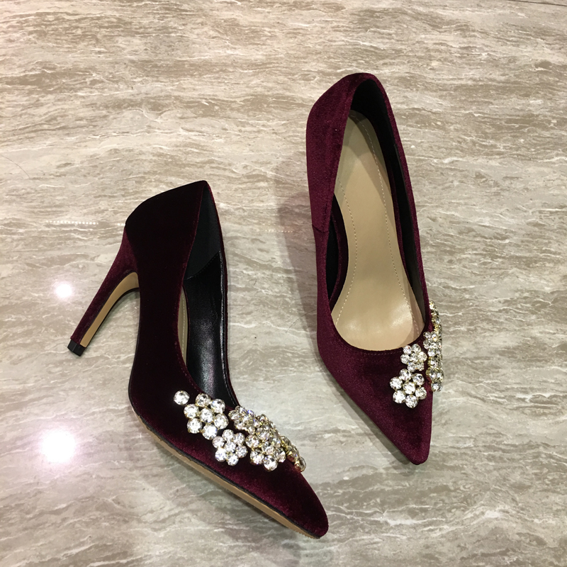 394a9db105fb Qianruiti Wine Red Velvet High Heels Women Shoes Bling Studded Crystal  Bridal Shoes Kim Kardashian Style Pointed Toe Women Pumps-in Women s Pumps  from Shoes ...