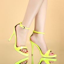 Free Shipping Women's Genuine Leather Shoes Ankle Strap Open Toe Stilleto Thin high Heels Newest Women's Sandals Plus Size 35-40