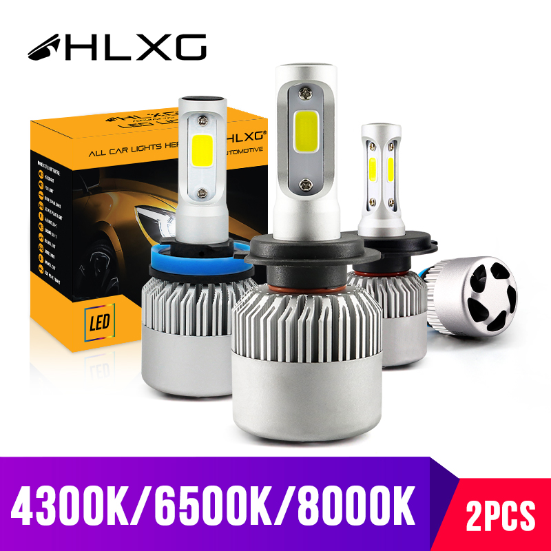 Hlxg Car-Headlight-Bulbs Automotivo 8000k Led H7 H11 6500K 4300K H8 HB4 HB3 S2 72W Car-Styling