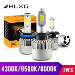 hlxg 2Pcs H4 LED H7 H11 H8 9006 HB4 H1 H3 HB3 COB S2 Auto Car Headlight 72W 8000LM High Low Beam Bulb Automobile Lamp 6500K 12V