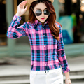 Women's Blouse Shirt 2017 Spring New Fashion College Style Casual Cool Student Plaid Shirt Long Sleeve Plus Size Blouses Chemise