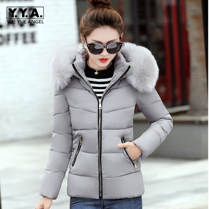 Winter Short Elegant Lady Parka Warm Thick Down Jacket Thermal Windbreaker Big Faux Fur Collar Hoody Overcoat Large Size L-4XL men ultra light large size thin parka jacket korean black cardigan china hoody winter overcoat slim warm military manteau homme