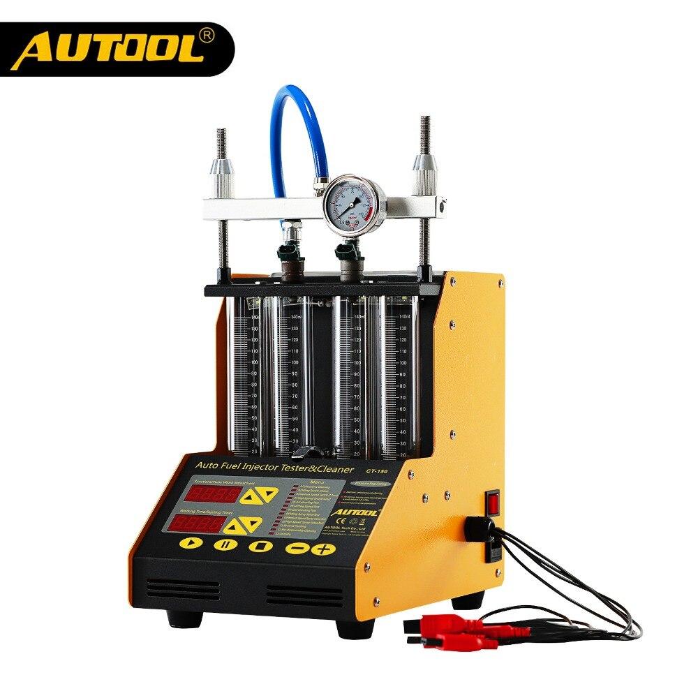 AUTOOL CT150 автомобильный инжектор тестер ультразвуковая чистка Автомобильные топливные инжекторы очиститель для ремонта автомобиля 4 цилиндр...