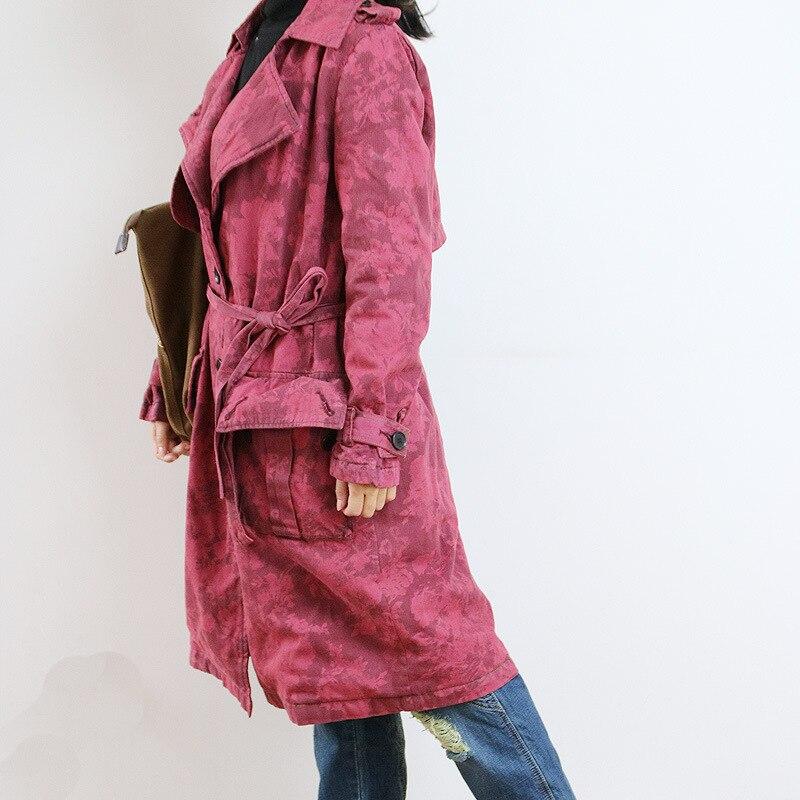 Red Giacca Lunga Jeans Autunno Trench Dell'annata Femminile Sciolto A Donne Di 2018 Denim Camo Inverno Oversize Cappotto Nuove Vento Coat q4OOxZ