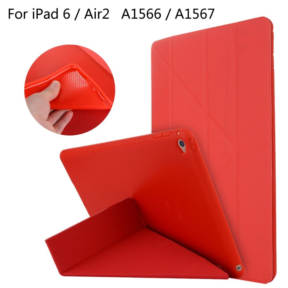 For iPad 6 / Air2 / Air 2 9.7 inch table High-quality case Cover Deformation Smart Slim Magnetic TPU Leather Stand Cases + Gift