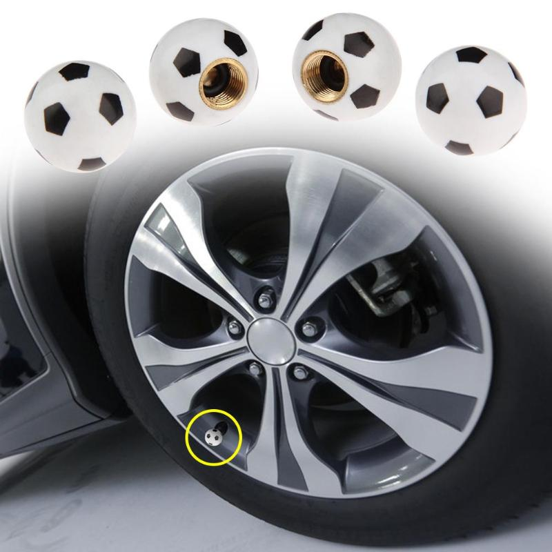 VODOOL 4Pcs/Set Football Soccer Style Car Wheel Tire Air Valve Stem Caps Covers Auto Motorcycle Bike Tyre Cover Car Styling