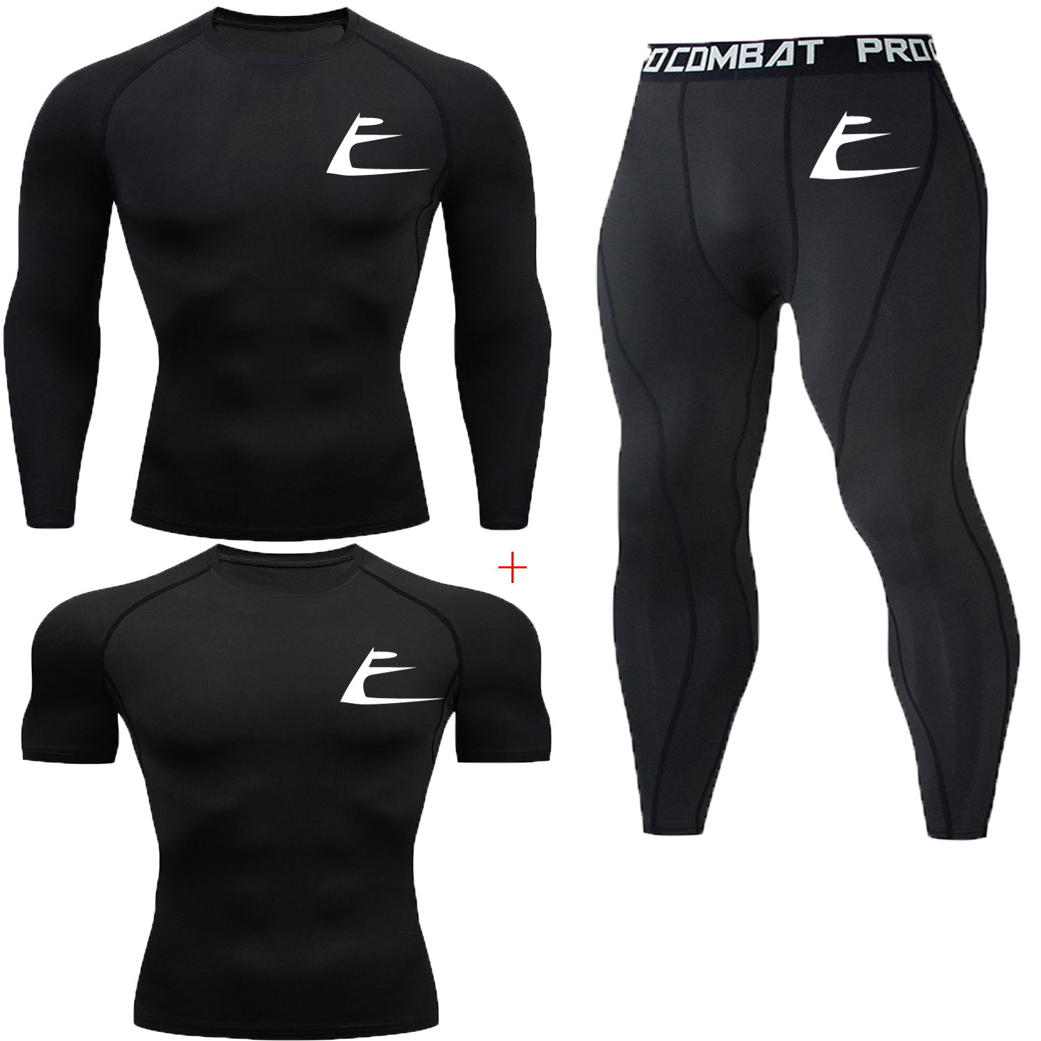 Three-piece Quick-drying Slim Printed Tshirt Compression Trousers Bodybuilding O-neck Short-sleeved + Long-sleeved Men's T-shirt
