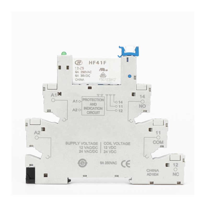 DIN Rail HF41F 12V 24V Terintegrasi PCB Power Relay dengan Relay Pemegang Tegangan Kontak Modul Set