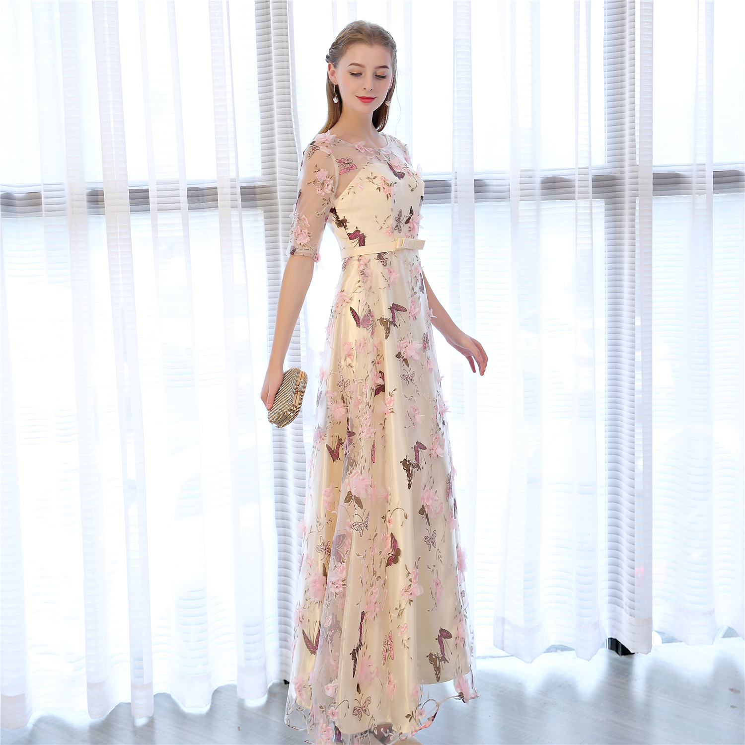 de084da8988 TS Couture Embroidered A-Line O-Neck Ankle Length Tulle Satin Chiffon Formal  Evening Dress with Flowers Prom Dress Prom Gowns