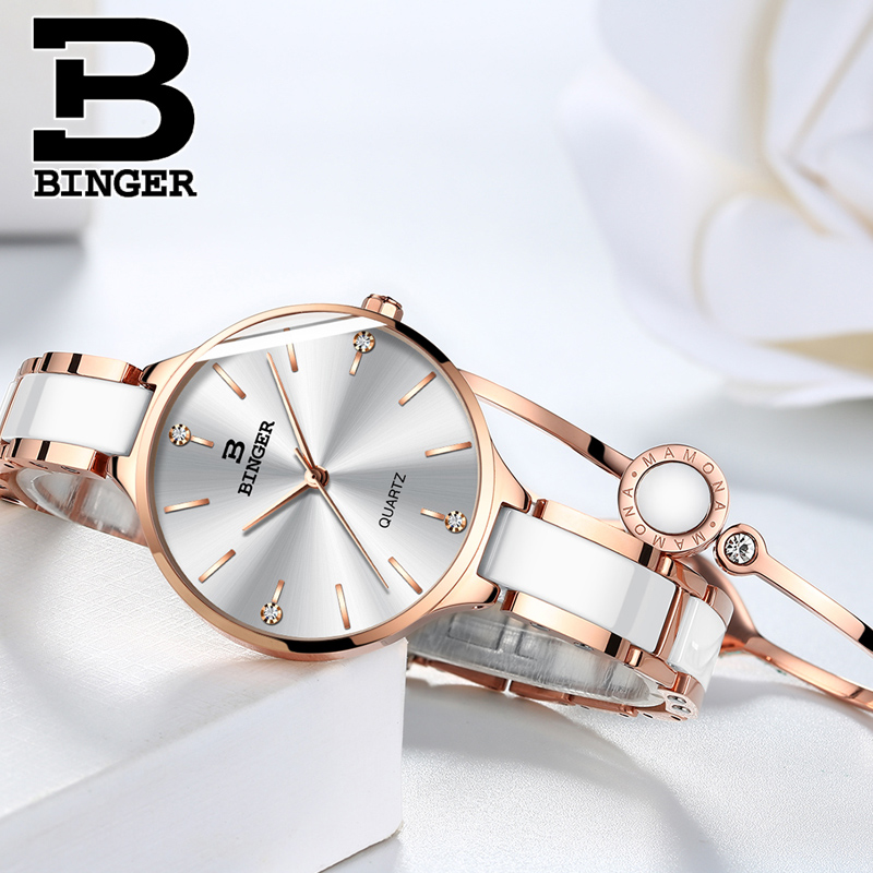 Image 4 - Switzerland Binger Ceramic Quartz Watch Women Casual Luxury Brand Wristwatches Gift Bracelet Relogio Feminino Montre Relogio-in Women's Watches from Watches