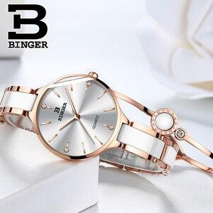 Image 4 - Switzerland Binger Ceramic Quartz Watch Women Casual Luxury Brand Wristwatches Gift Bracelet Relogio Feminino Montre Relogio