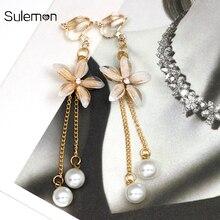Flower Pearl Tassel Earrings Non Pierced Ear Clips Simulated-Pearl Clip Without Piercing Women Long Earring CE340